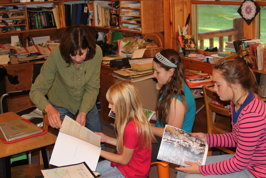 Christina Rusnak working with students in Stehekin's One-Room Schoolhouse