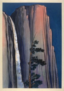 "Chiura Obata, ""Evening Glow of Yosemite Waterfall, Yosemite National Park, California, no. 23 of the World Landscape Series"" (1930)"