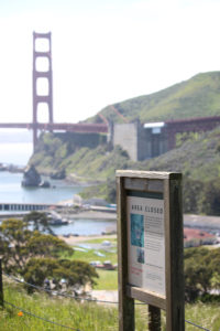 """Area Closed"" sign alerts visitors to the presence of Mission blue butterfly habitat in the Marin Headlands at Golden Gate."