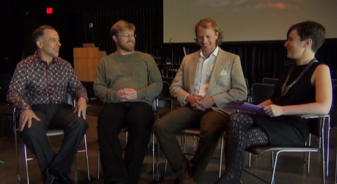 A group discussion with the composers at the Parrish Art Museum. Left to right: Stephen Lias, Stephen Wood, Justin Ralls, and Nell Shaw Cohen.