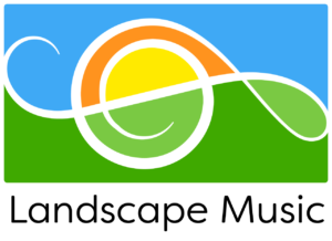 Graphic logo of sideways treble clef as an abstract landscape with hill, sun, and sky