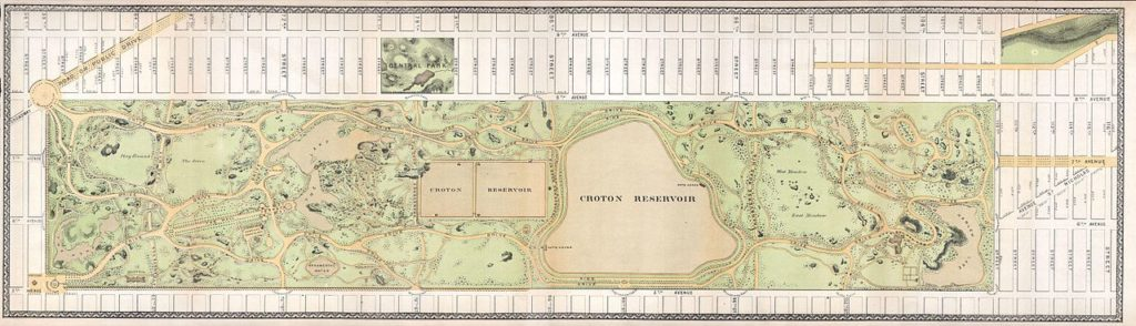 1868 Vaux & Olmstead Map of Central Park, New York City